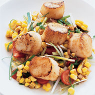 Food & Wine: Grilled Sea Scallops with Corn Salad