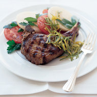 Food & Wine: Veal Chops with Tomato and Green Mango Salad