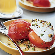 Food & Wine: Honey-Roasted Plums with Mascarpone and Pistachios