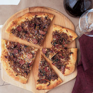 Food & Wine: Andouille Pizza with Onion Confit and Fontina Cheese