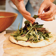 Food & Wine: Salad Pizza with Baby Greens and Herbs