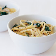 Food & Wine: Three-Cheese Linguine with Chicken and Spinach