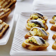 Food & Wine: Egg Salad Crostini with White Anchovies