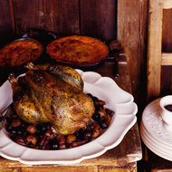 Food & Wine: Roast Chicken with Grapes, Chestnuts and Tarragon Butter