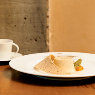 Food & Wine: Lemon Panna Cottas with Peach Compote and Ginger Syrup