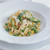 Food & Wine: Fresh Pasta with Spicy Corn and Asparagus