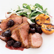 Food & Wine: Duck Breast with Fresh Cherry Sauce and Grilled Apricots