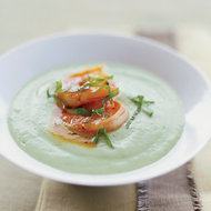 Food & Wine: Chilled Cucumber-Avocado Soup with Spicy Glazed Shrimp