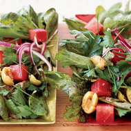 Food & Wine: Baby Leaf Lettuce with Olives and Watermelon