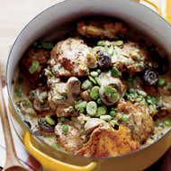 Food & Wine: Beer-Braised Chicken Stew with Fava Beans and Peas