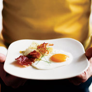 Food & Wine: Leeks Vinaigrette with Fried Eggs and Smoked Prosciutto