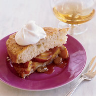 Food & Wine: Warm Peach Shortcake with Brandy Whipped Cream