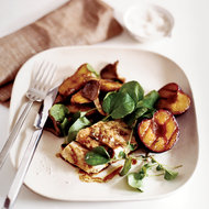 Food & Wine: Grilled Striped Bass with Plums and Potato-Mushroom Papillotes