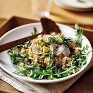 Food & Wine: Herbed Brown Rice Salad with Corn, Fava Beans and Peas