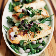 Food & Wine: Halibut with Mixed Beans and Lemon-Butter Sauce
