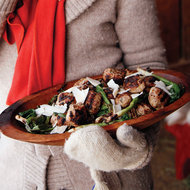 Food & Wine: Grilled Meatballs with Scallion and Shaved Cheese Salad