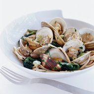 Food & Wine: Sizzled Clams with Udon Noodles and Watercress