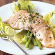 Food & Wine: Poached Salmon Salad with Lettuce and Asparagus