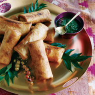 Food & Wine: Crispy Turkey Kathi Rolls with Mint-and-Date Dipping Sauce