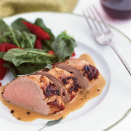 Food & Wine: Milk-Braised Pork Tenderloin with Spinach and Strawberry Salad