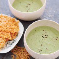Food & Wine: Creamy Broccoli Soup with Cheddar Crisps