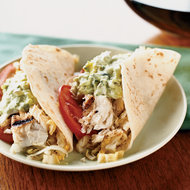 Food & Wine: Fish Tacos with Creamy Lime Guacamole and Cabbage Slaw