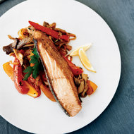 Food & Wine: Salmon with Oyster Mushrooms and Peppers