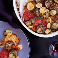Food & Wine: Crisp Tomato, Zucchini and Eggplant Bread Gratin