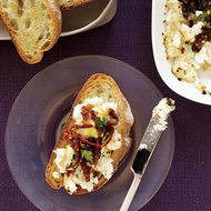 Food & Wine: Broiled Ricotta with Olives and Sun-Dried-Tomato Relish
