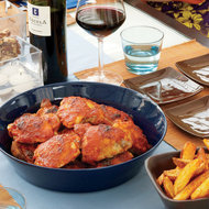Food & Wine: Chicken Thighs with Spicy Tomato-Pepper Sauce