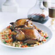 Food & Wine: Focaccia-Stuffed Squab with Bean Stew