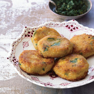 Food & Wine: Cilantro-Flecked Corn Fritters with Chile-Mint Sauce