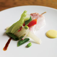 Food & Wine: Slow-Baked Sea Bass with Egg Sauce and Garlic Foam