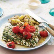 Food & Wine: Grilled Halibut with Smashed Fingerlings and Tomato Butter