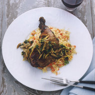 Food & Wine: Crispy Chicken Leg Confit with Couscous and Olives