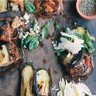 Food & Wine: Grilled Eggplant and Tomatoes with Parmesan-Basil Crumbs
