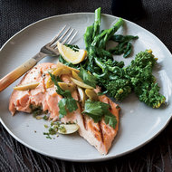 Food & Wine: Grilled Salmon with Preserved Lemon and Green Olives