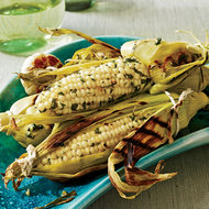 Food & Wine: Grilled Corn on the Cob with Roasted Garlic and Herbs