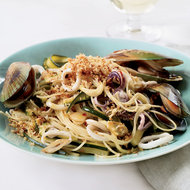 Food & Wine: Angel Hair Pasta with Squid, Mussels and Zucchini