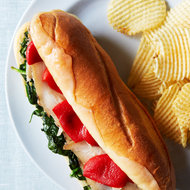 Food & Wine: Herb-Roasted Pork Subs with Garlicky Spinach
