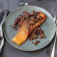 Food & Wine: Roasted Salmon with Oyster Mushrooms in Red Wine