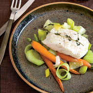Food & Wine: Casserole-Baked Halibut with Leeks and Carrots
