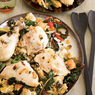 Food & Wine: Chicken Baked on a Bed of Bread and Swiss Chard