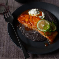 Food & Wine: Ancho-and-Honey-Glazed Salmon with Black Bean Sauce and Jalapeño Crema