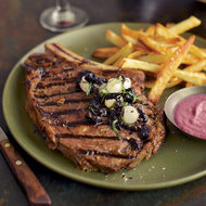 Food & Wine: Grilled Steaks with Onion Sauce and Onion Relish