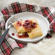 Food & Wine: Ricotta Blintzes with Lingonberry Syrup