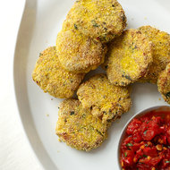 Food & Wine: Polenta-Crusted Fish Cakes with Spicy Tomato Sauce
