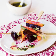 Food & Wine: Roasted Beet, Carrot and Scallion Skewers with Tarragon