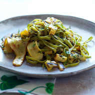 Food & Wine: Spinach Fettuccine with Tangy Grilled Summer Squash