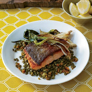 Food & Wine: Ocean Trout with Curried Lentils and Spring Onions